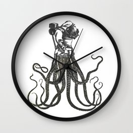Octodiver on white background vintage collage image Wall Clock