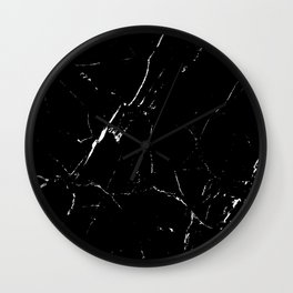 Gentle Fracture - Black And White Abstract Marble Pattern Minimalist Wall Clock