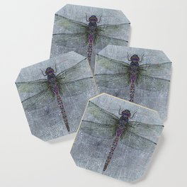 Dragonfly on blue stone and metal background Coaster