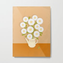 bouquet of white camomiles in the vase Metal Print