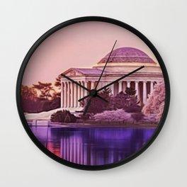Twilight, Jefferson Memorial Amid Spring Cherry Blossoms by Jeanpaul Ferro Wall Clock