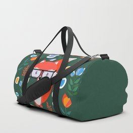 Fox with glasses and flowers Duffle Bag
