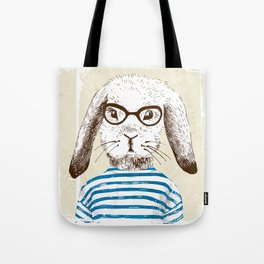 Hipster Rabit with Style Tote Bag