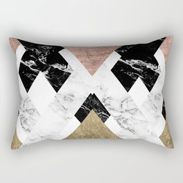 Modern geometric chevron black white marble rose gold foil gold triangles pattern Rectangular Pillow