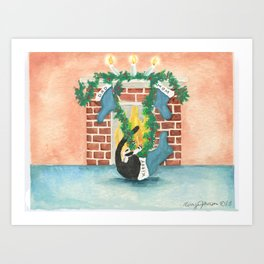 Christmas stocking curiosity Art Print