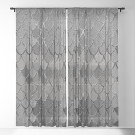 Mermaid Scales Silver Gray Glam #1 #shiny #decor #art #society6 Sheer Curtain