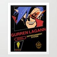 gurren lagann Art Prints featuring NES Gurren Lagann by IF ONLY