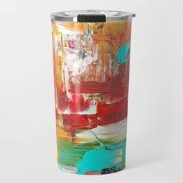 Contemporary Palette Knife Abstract Plaid 7 - Autumn Travel Mug