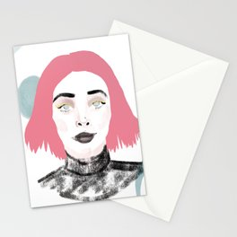 Pink Haired Dream Girl Stationery Cards
