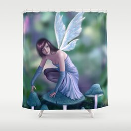 Periwinkle ~ littl fairy pixie on mushrooms Shower Curtain