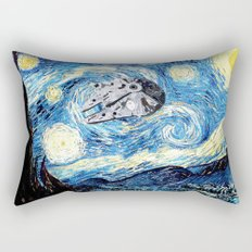 Falcon flies the Starry Night Rectangular Pillow