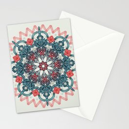 Coral & Teal Tangle Medallion Stationery Cards