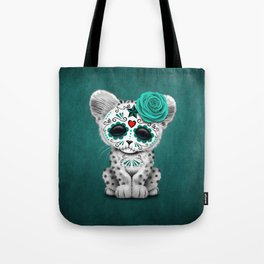 Blue Day of the Dead Sugar Skull Snow Leopard Cub Tote Bag