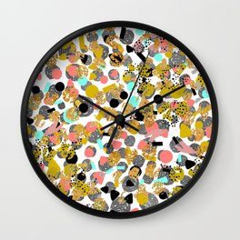 LOLA - abstract art painting modern trendy colors, gold foil, dots pattern decor Wall Clock