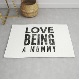 Love Being a Mommy in Black Watercolor Rug
