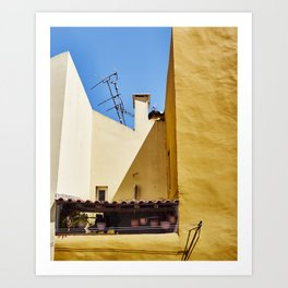 Blue and Yellow Building Art Print
