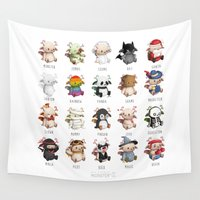 monsters Wall Tapestries featuring Monsters by CookiesOChocola
