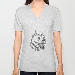 Pit Bull Head Doodle Art Unisex V-Neck