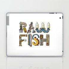 MACHINE LETTERS - RAW FISH (white) Laptop & iPad Skin
