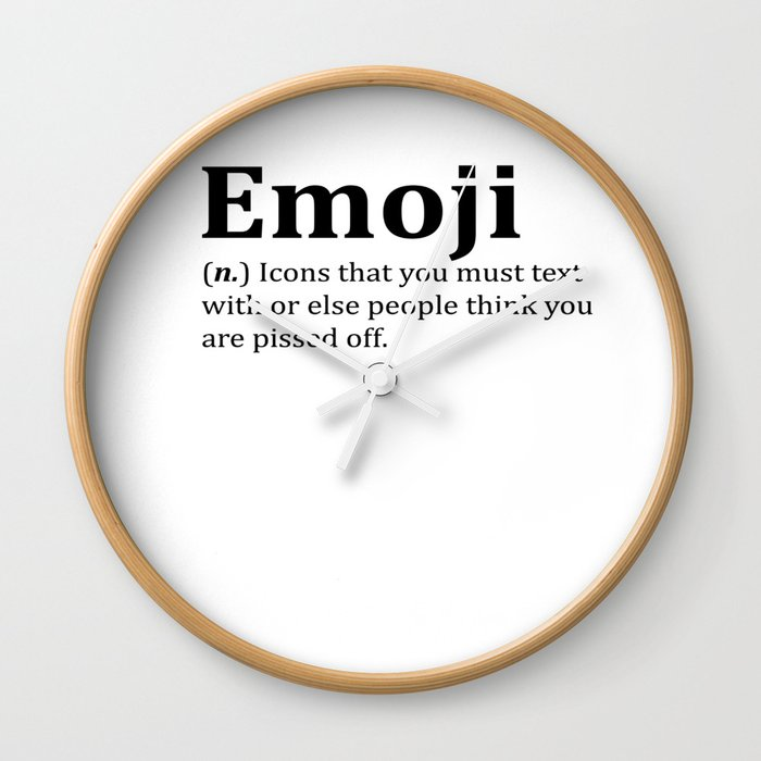 Funny Emoji Dictionary Meme Wall Clock by desteesigners