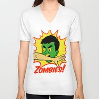zombies V-neck T-shirts featuring Zombies! by Derek Eads