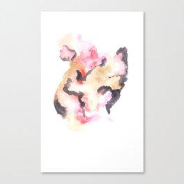 Watercolor Pink Black Flow | [dec-connect] 1.sensing Canvas Print