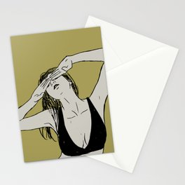 Girl in bra hides her eyes   The Freedom Stationery Cards
