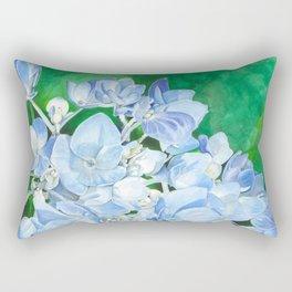 Watercolor Hydrangea Blossoms Rectangular Pillow