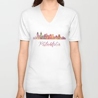 philadelphia V-neck T-shirts featuring Philadelphia Skyline by SpecialTees