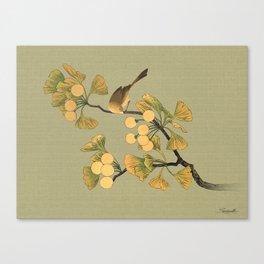 Bird in Ginkgo Tree Canvas Print