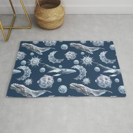 Watercolor cosmos with whales. Rug