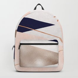 Rose gold french navy geometric Backpack