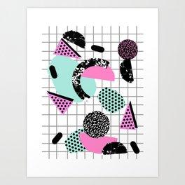 Joshin - memphis throwback retro pop art geoemetric pattern print unique trendy gifts dorm college Art Print