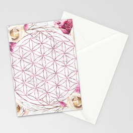 Mandala Rose Gold Garden Pink Red Yellow Stationery Cards