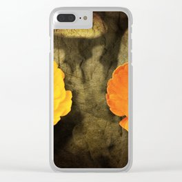 A close-up of a flower of Adonis on a grunged canvas background Clear iPhone Case