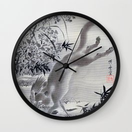 Fox Catching Bird - Digital Remastered Edition Wall Clock