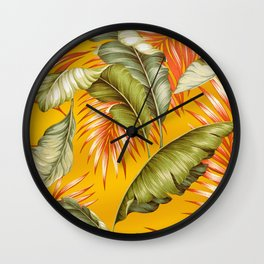 HAWAIIAN GARDEN TROPICAL LEAVES | golden yellow orange Wall Clock