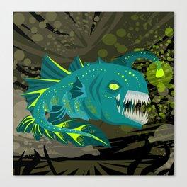 deep abyss light fish Canvas Print
