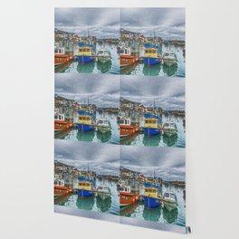 Boats in Mevagissey Harbour. Wallpaper