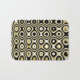 Black gold and white dots and circles Bath Mat
