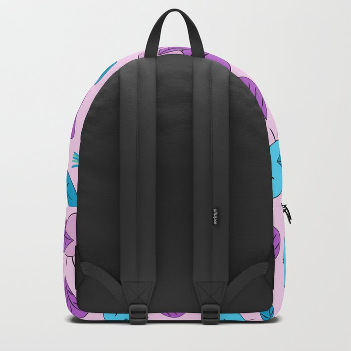 Birds in blue and pink Backpack