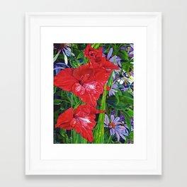 Gladiola's and Echinacea Framed Art Print
