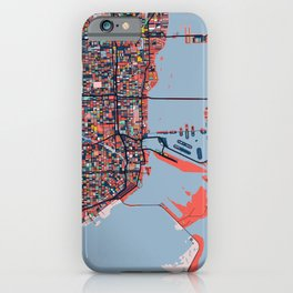 Miami Florida Abstract Map Art iPhone Case