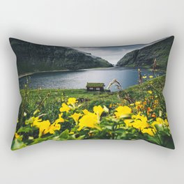 Cabin in Saksun - Faroe Islands Rectangular Pillow