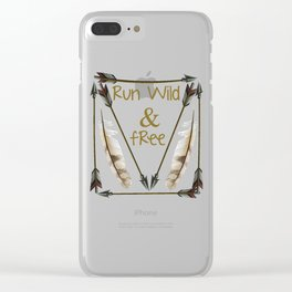 Run Wild and Free Graphic Arrow T-shirt Clear iPhone Case