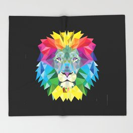 High Color Lion  Throw Blanket
