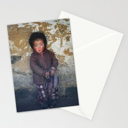 Portrait of serious young Nepali boy  in Lukla, Nepal  Stationery Cards