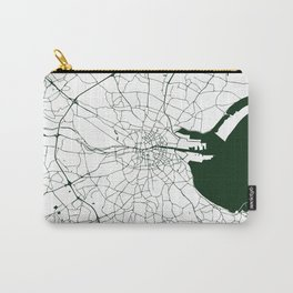 White on Dark Green Dublin Street Map Carry-All Pouch