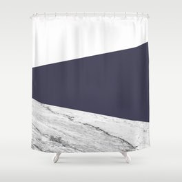 Marble Eclipse blue Geometry Shower Curtain