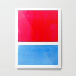 Colorful Bright Minimalist Rothko Midcentury Modern Art Vintage Pop Art Neon Red Cerulean Blue Metal Print